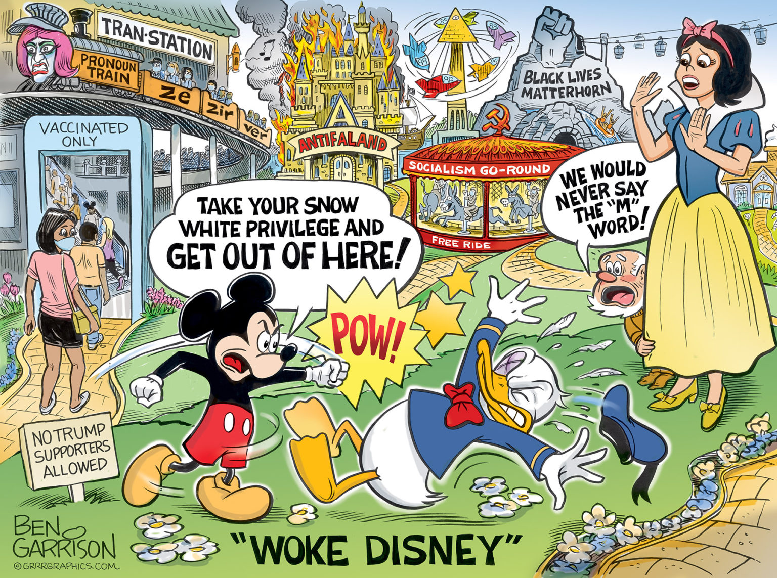 """""""Woke Disney"""" by Ben Garrison. sorry, you will have to find an image description elsewhere, it's too much"""